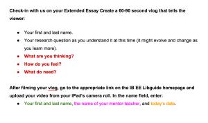 Self-assessment vlogging instructions.